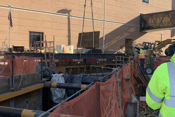 Construction going in downtown Spokane by Nordstrom and Library