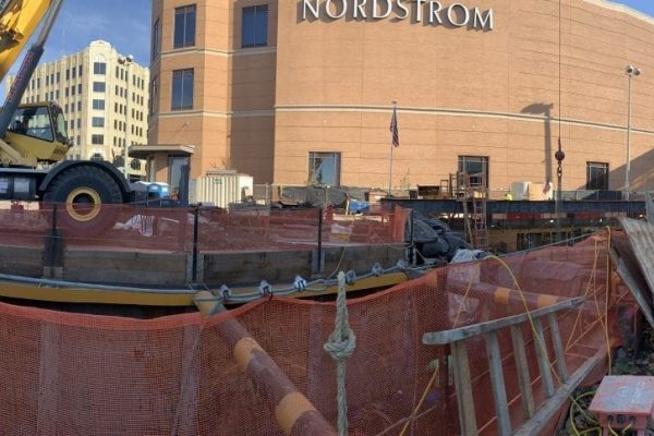 A panoramic view of the CSO 26 ground level job site in downtown Spokane